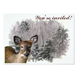 Deer and Frosty Hills Winter Solstice Invitation
