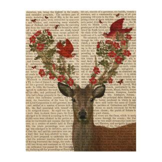 Deer and Love Birds Wood Wall Art