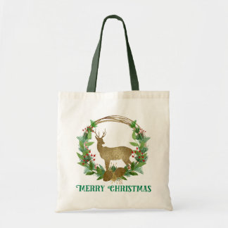 Deer and Pine Bough Merry Christmas Wreath Tote Bag