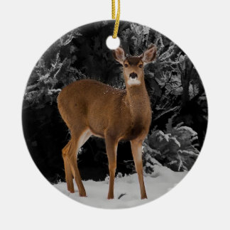 DEER AND QUAIL CERAMIC ORNAMENT