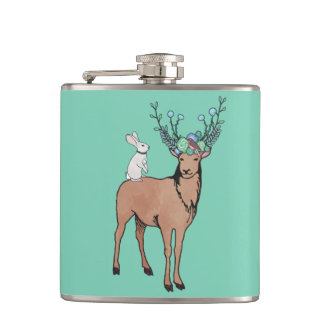 Deer and Rabbit Flask