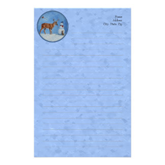 Deer and Snowman Christmas Customized Stationery