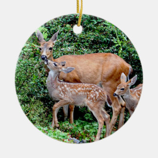 Deer and Twin Fawns Animal Family Ceramic Ornament