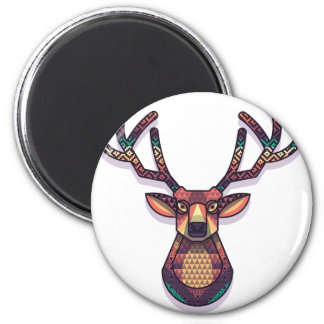 deer animal with horns 6 cm round magnet