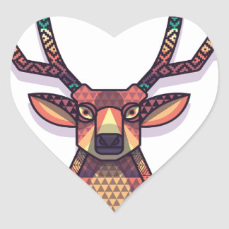 deer animal with horns heart sticker