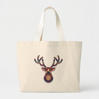 deer animal with horns large tote bag