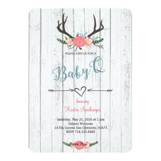 Deer Antler Baby Q Shower invitation