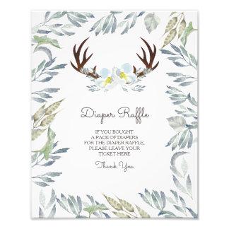 Deer Antler Boy Diaper Raffle Sign