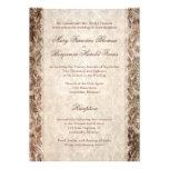 Deer Antler Damask Brown & Cream Wedding Personalized Invitation