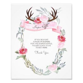 Deer Antler Diaper Raffle Sign