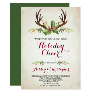 Deer Antler Party Invite - Christmas
