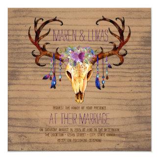 Deer Antler Rustic Country Watercolor Wedding 13 Cm X 13 Cm Square Invitation Card