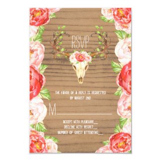 Deer Antler Rustic Wood Southwestern Wedding 9 Cm X 13 Cm Invitation Card