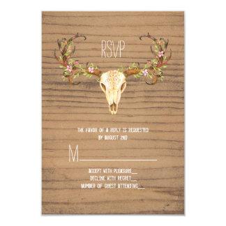 Deer Antler Rustic Wood Southwestern Wedding RSVP 9 Cm X 13 Cm Invitation Card