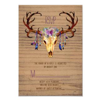Deer Antler Skull Rustic Country Wedding RSVP 9 Cm X 13 Cm Invitation Card