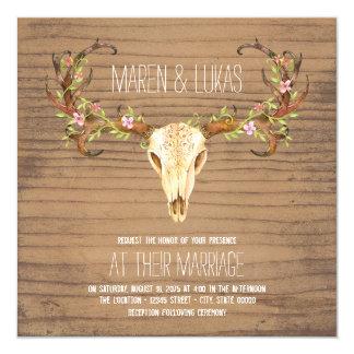 Deer Antler Skull Southwestern Wedding 13 Cm X 13 Cm Square Invitation Card