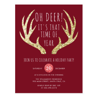 Deer Antlers Christmas Holiday Party Postcard