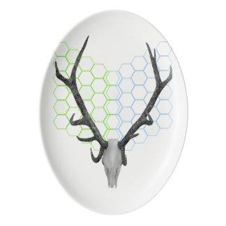 Deer Antlers Geometric Pattern Porcelain Serving Platter