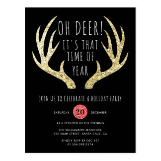 Deer Antlers Gold & Black Christmas Holiday Party Postcard