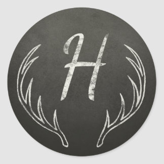 Deer Antlers Monogram Black and White Chalkboard Classic Round Sticker