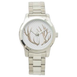 Deer Antlers on Gray Background Man's Watch