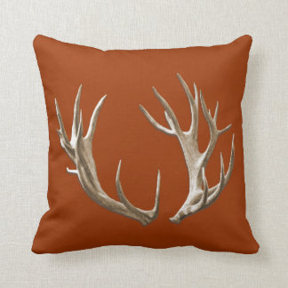 Deer Antlers Orange Animal Nature Throw Pillow