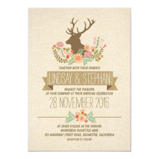 Deer antlers romantic rustic wedding invitations