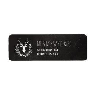 Deer Antlers | Rustic Chalkboard Return Address Label