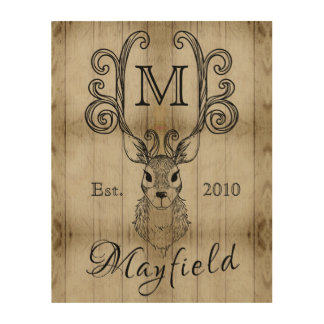Deer Antlers Rustic Wood Monogram Family Plaque Wood Wall Art