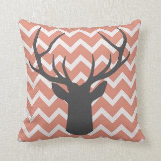 Deer Antlers with salmon pink chevron motifs Cushion
