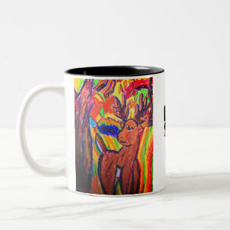 deer art Two-Tone coffee mug