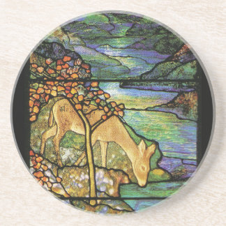 Deer at Stream Tiffany Stained Glass Coaster