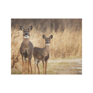 Deer at the cross road in an autumn setting canvas print