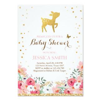 Deer baby shower invitation Woodland Girl Floral