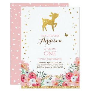 Antler birthday invitations zazzle deer birthday invite woodland gold pink floral filmwisefo