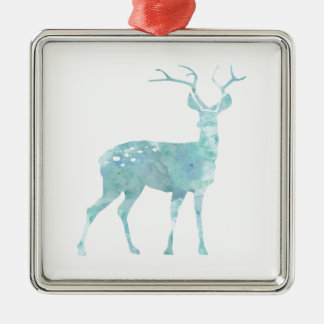 Deer Blue Watercolor Metal Ornament