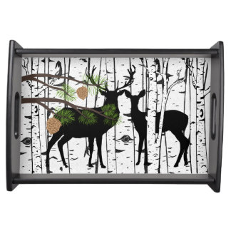 Deer Buck and Doe Birch and Pine Serving Tray