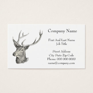 Deer Buck Head with Antlers Drawing Business Card