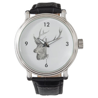 Deer Buck Head with Antlers Drawing Watch