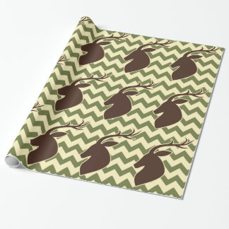 Deer Buck Head with Chevron Wrapping Paper