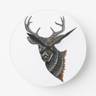 Deer Buck with Intricate Design Round Clock