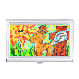 Deer by cross art case for business cards