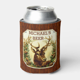 Deer Cabin Personalized Beer Rustic Wood Grain Can Cooler