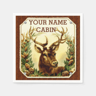 Deer Cabin Personalized with Wood Grain Disposable Serviette