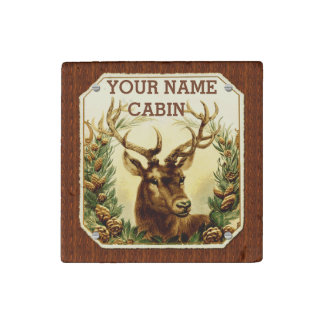 Deer Cabin Personalized with Wood Grain Stone Magnet