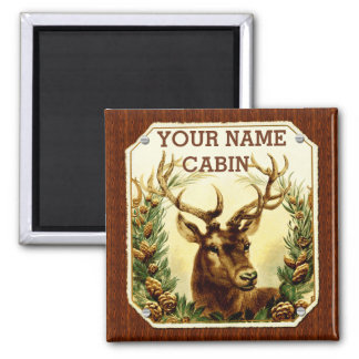 Deer Cabin Personalized with Wood Grain Fridge Magnets