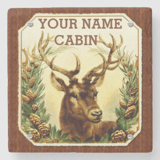 Deer Cabin Personalized with Wood Grain Stone Coaster