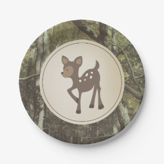 Deer Camouflage Baby Shower Paper Plate
