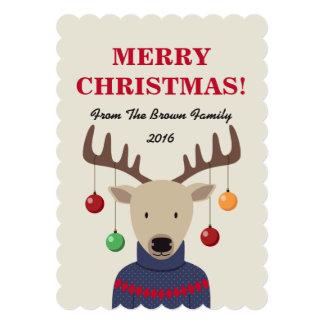 Deer Christmas Holiday Card 13 Cm X 18 Cm Invitation Card