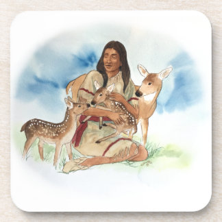 Deer Clan Mother With Her Fawns Coaster